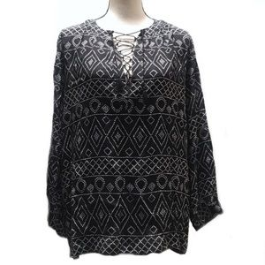 🛑 Madewell NWOT Black White Printed Boho Top Med